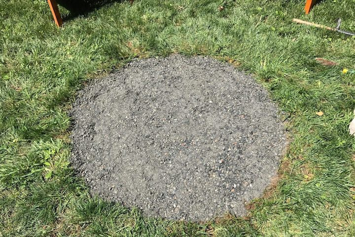 gravel in circle of pit