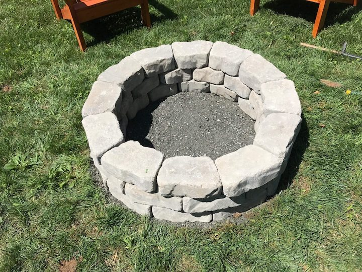 stacking circle for DIY fire pit with flagstone wall blocks