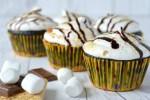 close up of s'mores cupcakes with graham crackers, Hershey's and marshmallows
