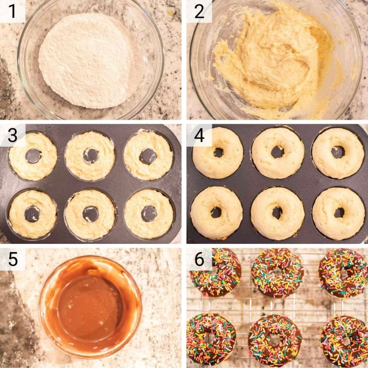 process shots of how to make baked chocolate frosted donuts