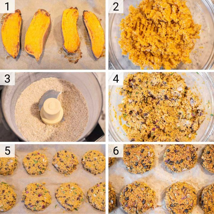 process shots of how to make sweet potato black bean burgers