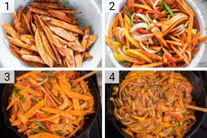 process shots of how to make sweet potato fajitas