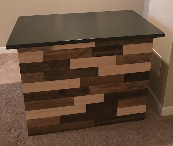 refurbished bar with wood planks