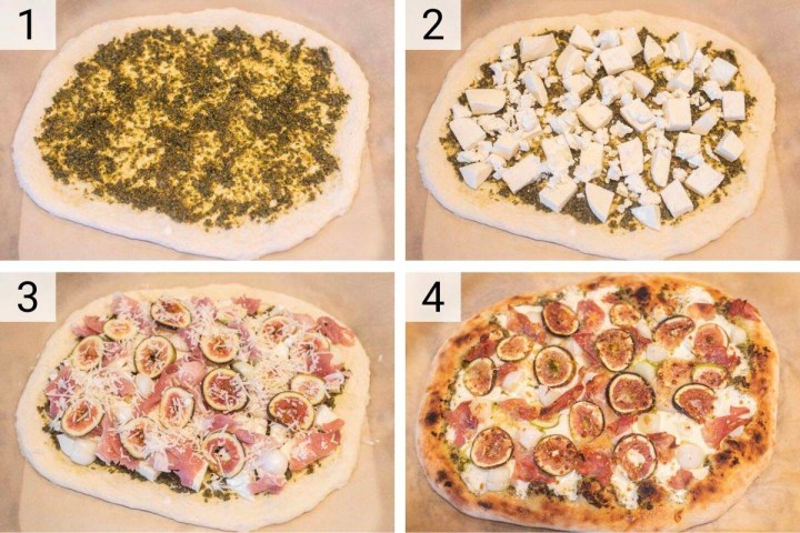 process shots of how to make fig prosciutto pizza