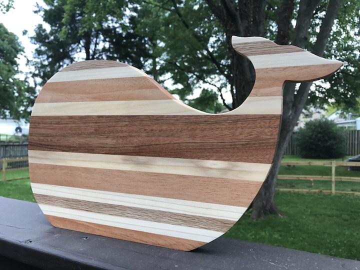 whale cutting board on side rail