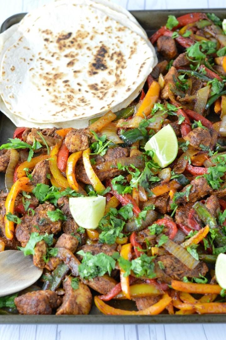 close-up of easy sheet pan chicken fajitas