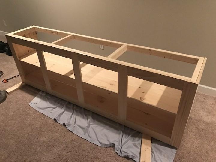 adding bottom shelf and middle shelf to entertainment center