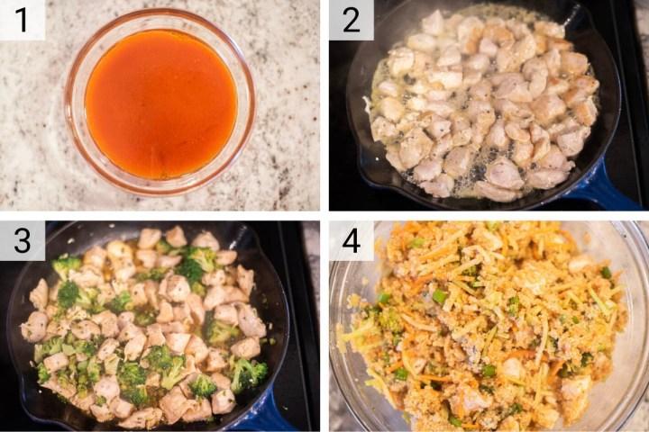 process shots of how to make buffalo chicken salad