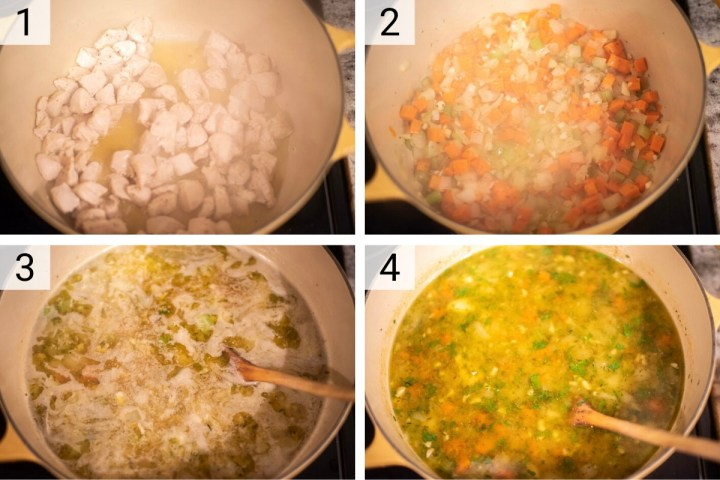 process shots of how to make lemon chicken orzo soup