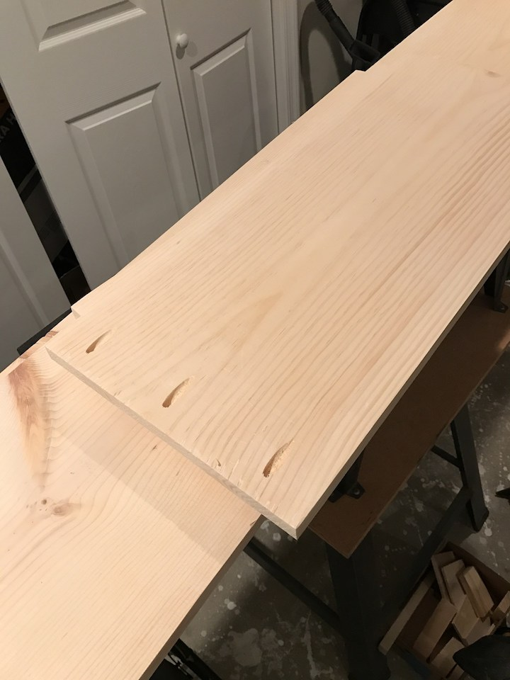 pocket holes drilled into wood