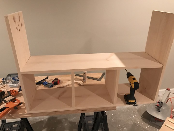 putting together base and shelf