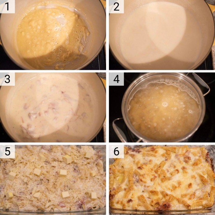 process shots of how to make baked rigatoni