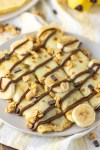 banana Nutella crepes on plate