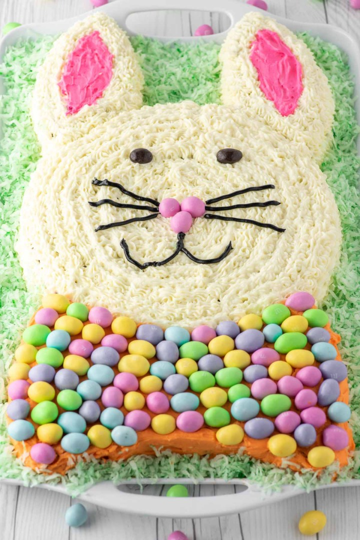 Easter bunny carrot cake on platter