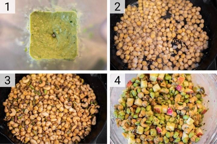 process shots of how to make edamame salad