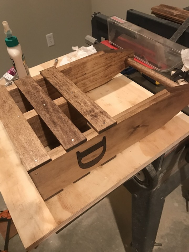 gluing and nailing sides of wine caddy