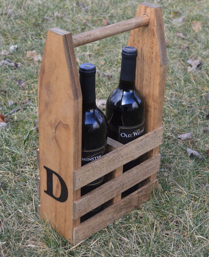 two bottles of wine in wine caddy