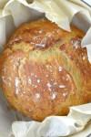 overhead shot of no-knead dutch oven bread