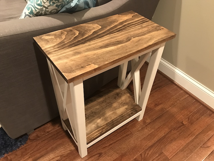 X Side Table by couch