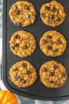overhead shot of pumpkin oatmeal muffins in muffin tin