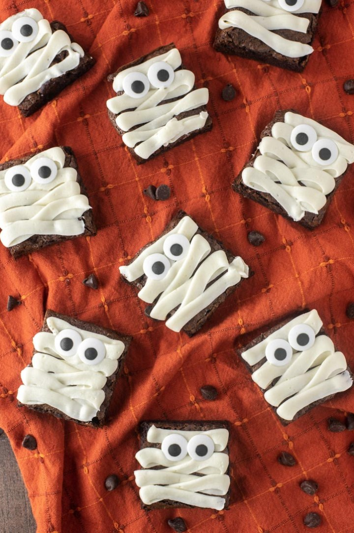 close-up of mummy brownies on orange hand towel