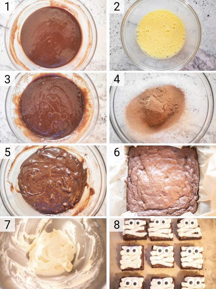 process shots of how to make mummy brownies