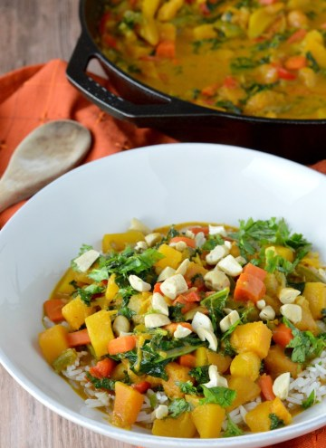 close-up of Thai butternut squash curry in white bowl
