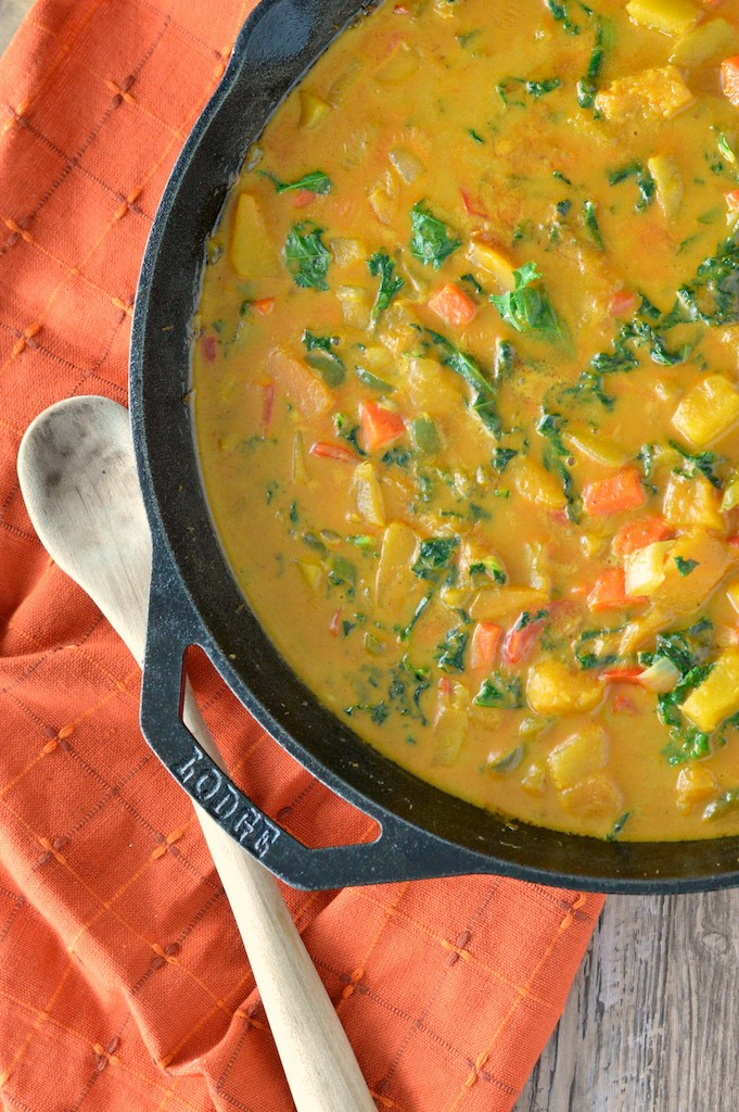 close-up of Thai butternut squash curry in skillet