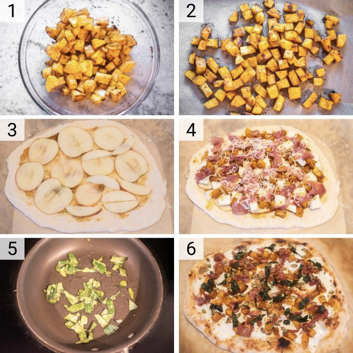 process shots of how to make butternut squash pizza