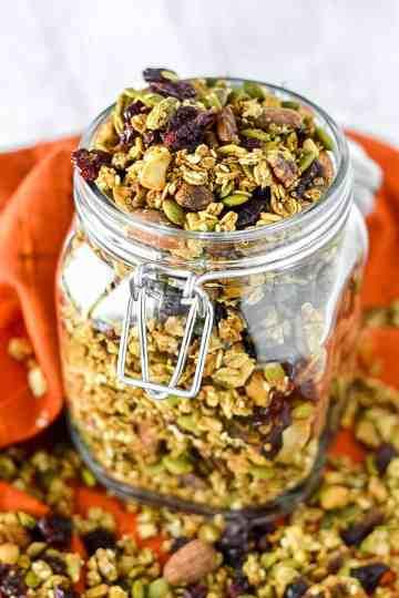 close-up of pumpkin spice granola in glass jar