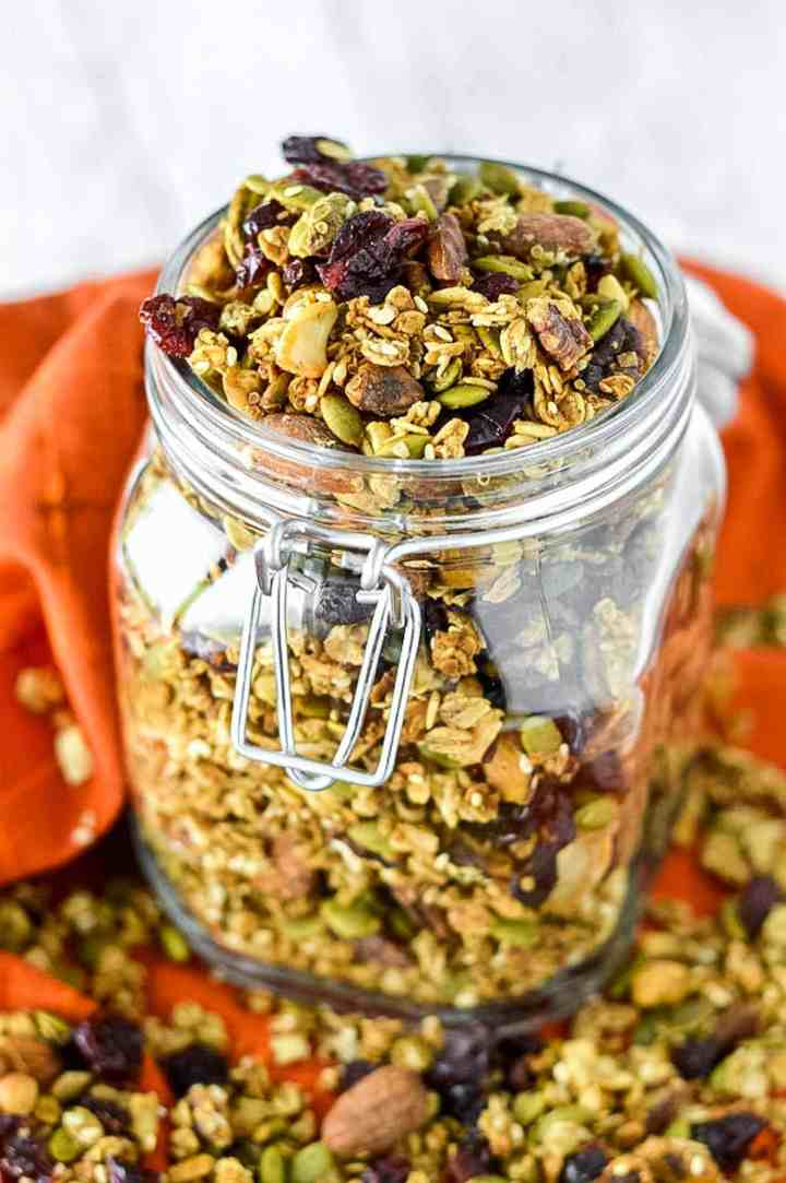 close-up of pumpkin spice granola in glass jar