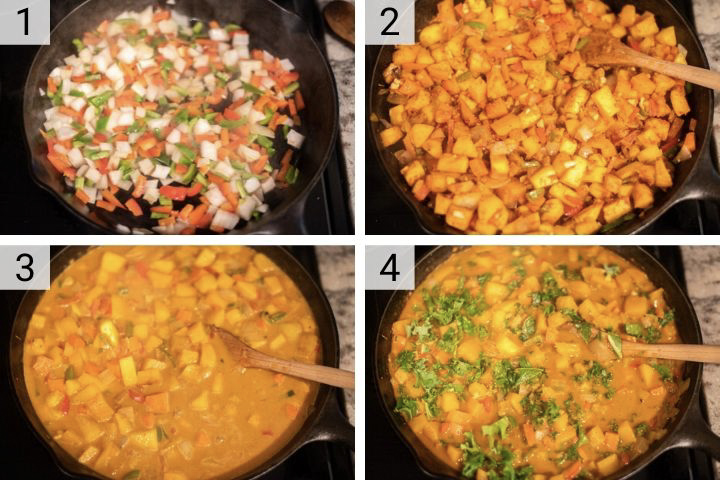 process shots of how to make butternut squash curry