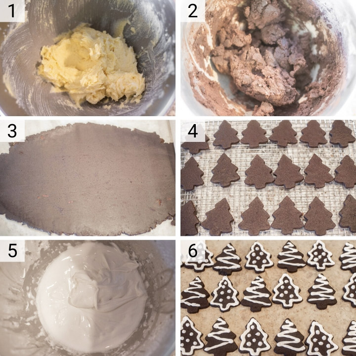 process shots of how to make chocolate sugar cookies