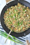 overhead shot of easy cauliflower fried rice in wok