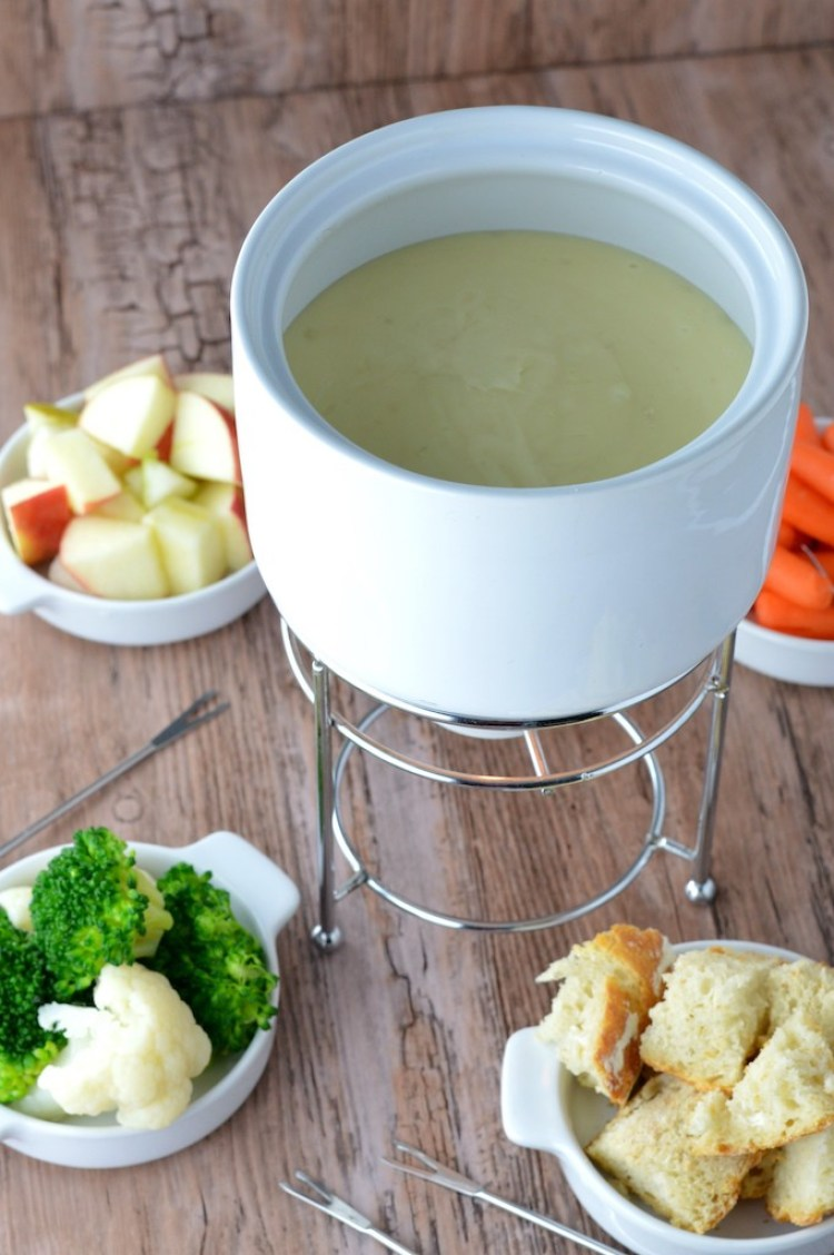 close-up of fondue in white pot
