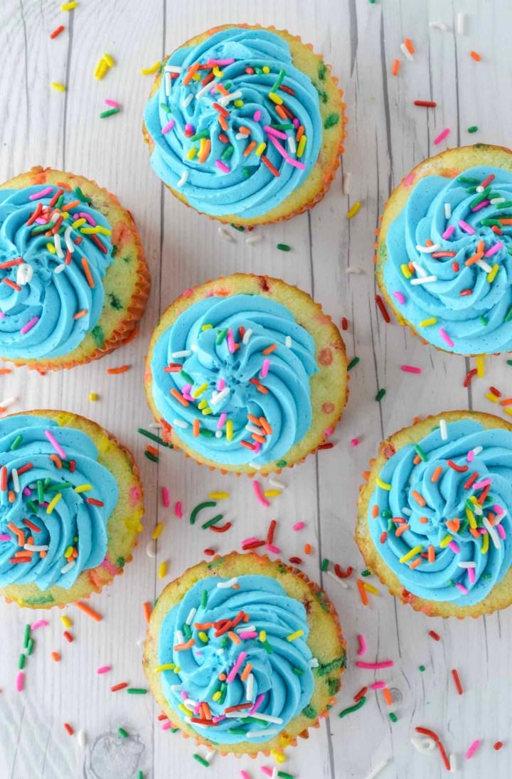 overhead shot of homemade funfetti cupcakes