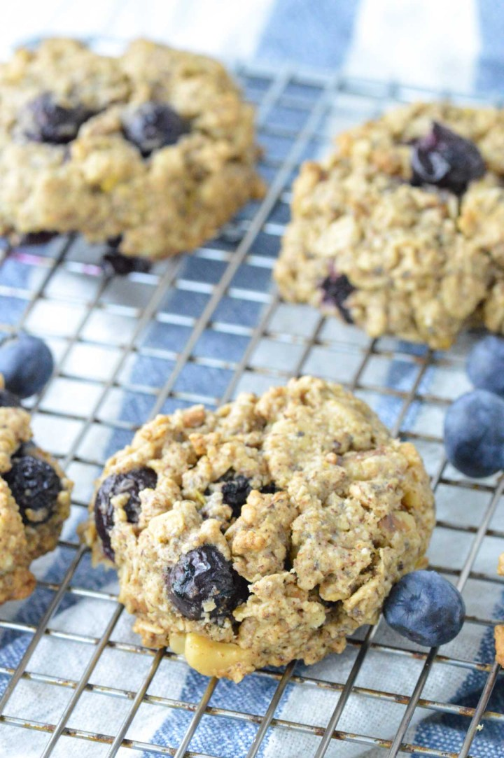 close-up of lemon blueberry breakfast cookies on cooling rack