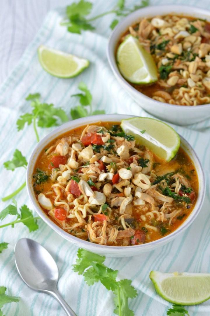 close-up of Thai peanut chicken ramen in white bowl