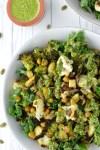overhead shot of veggie grain bowl in white bowl