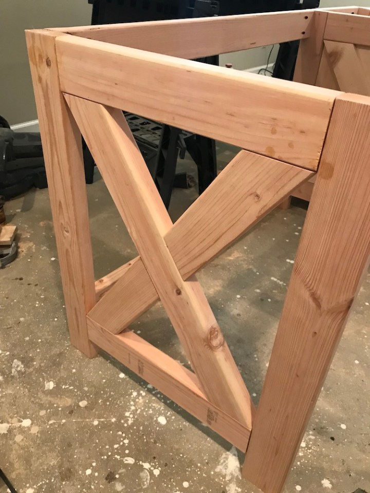 putting together x side of desk