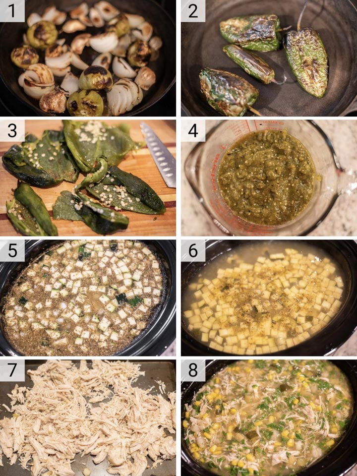 process shots of how to make chicken pozole