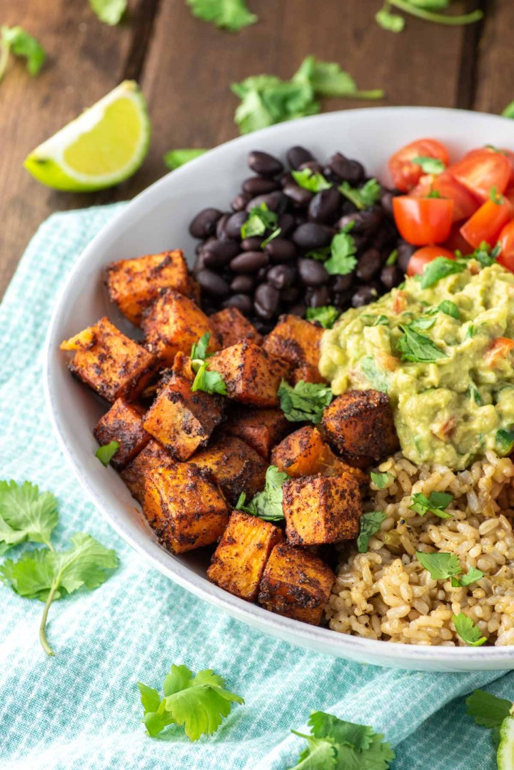 vegetarian burrito bowl in white bowl