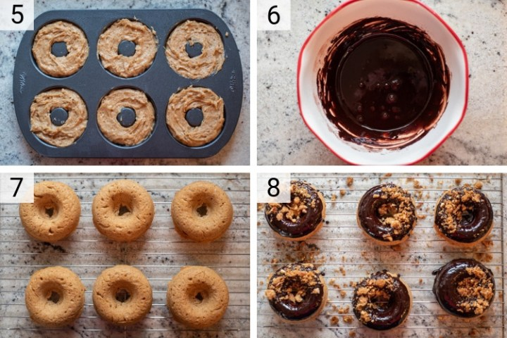 process shots of how to make almond butter donuts with mocha glaze and almond streusel