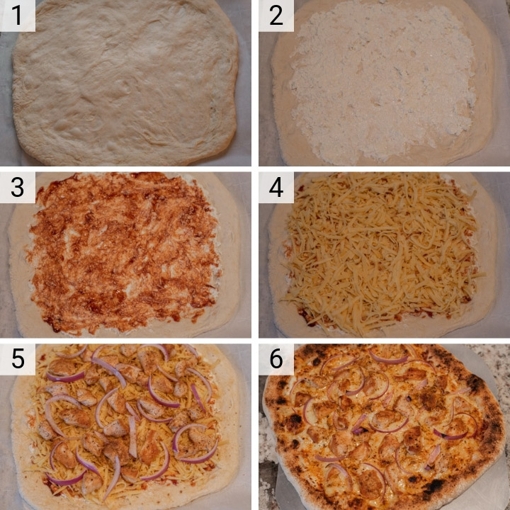 process shots of how to make BBQ chicken pizza
