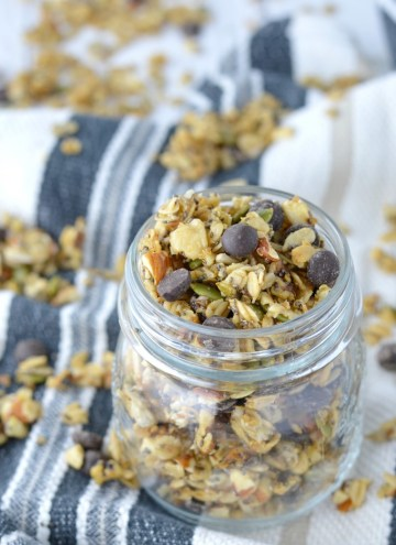 close-up of chewy chocolate chip granola in jar