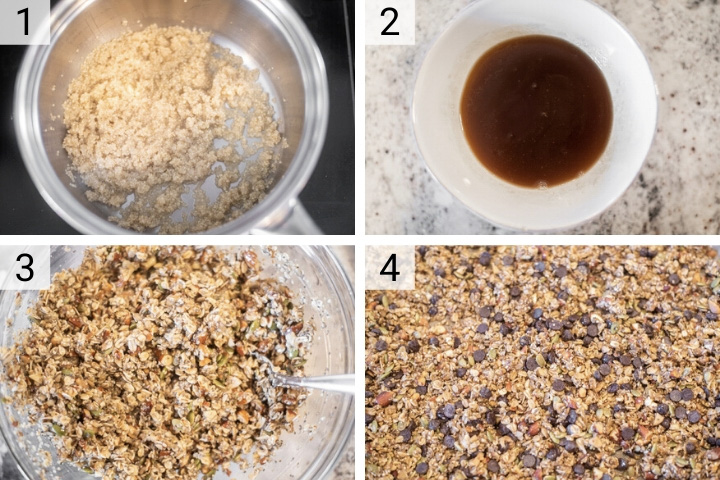 process shots of how to make chocolate chip granola