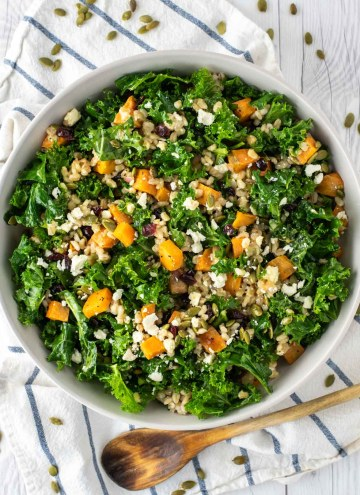 overhead shot of kale sweet potato salad in bowl