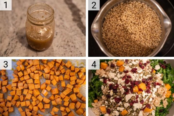 process shots of how to make kale sweet potato salad