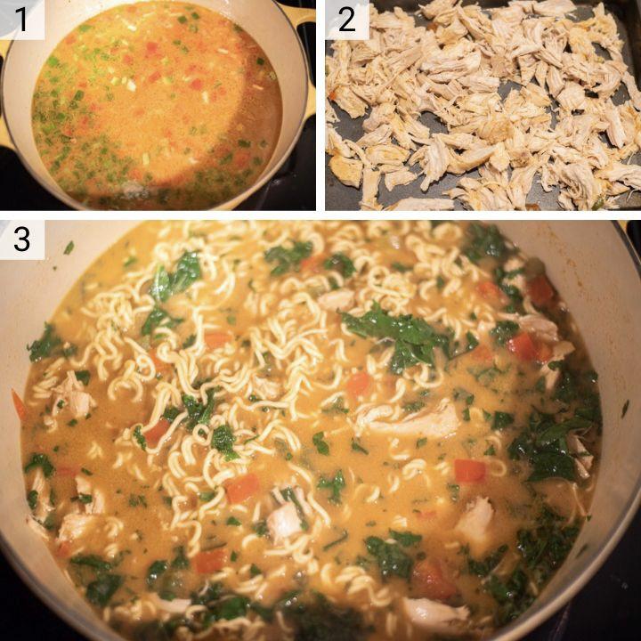 process shots of how to make Thai peanut chicken ramen