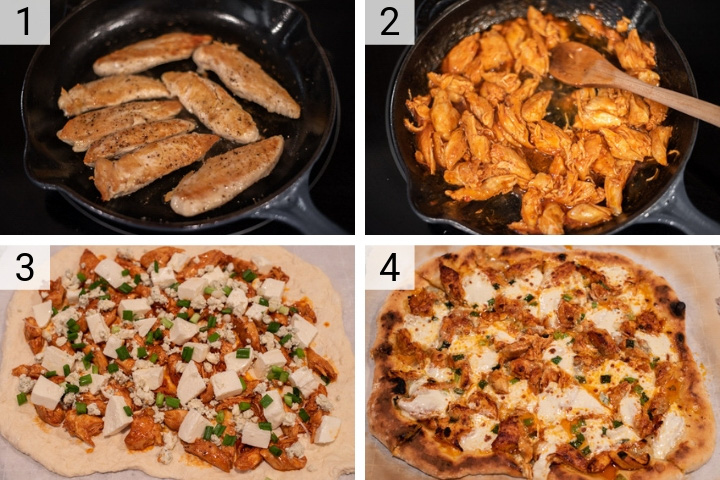 process shots of how to make buffalo chicken pizza